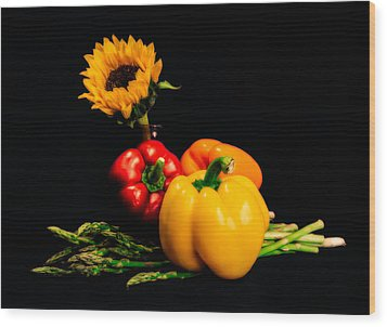 Still Life Peppers Asparagus Sunflower Wood Print by Jon Woodhams