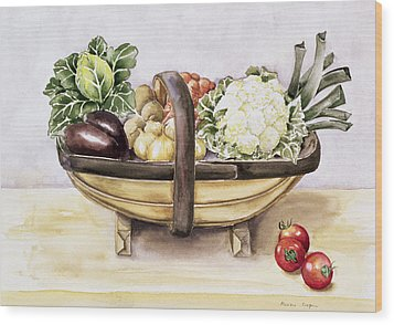 Still Life With A Trug Of Vegetables Wood Print by Alison Cooper