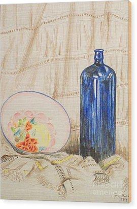 Still-life With Blue Bottle Wood Print by Alan Hogan