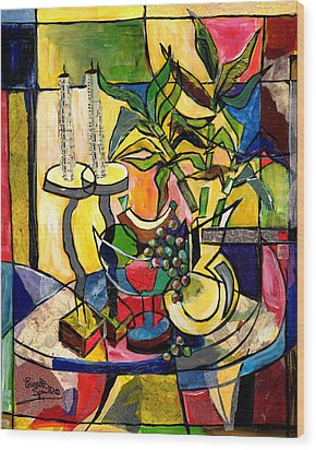 Still Life With Fruit Candles And Bamboo Wood Print by Everett Spruill