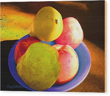 Still Life With Fruit Wood Print by Ginny Schmidt
