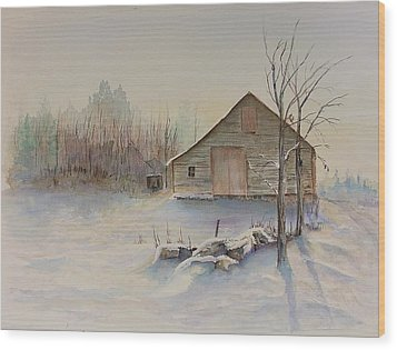 Still River Barn Wood Print by Michael McGrath