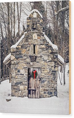 Stone Chapel In The Woods Trapp Family Lodge Stowe Vermont Wood Print by Edward Fielding