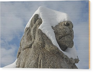 Stone Lion Covered With Snow Wood Print by Matthias Hauser