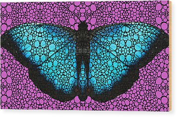 Stone Rock'd Butterfly 2 By Sharon Cummings Wood Print by Sharon Cummings