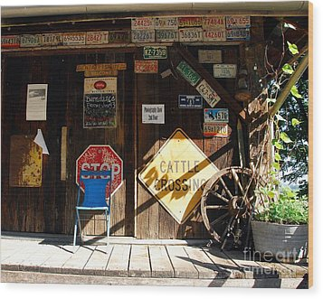 Stop And Have A Seat Wood Print by Mel Steinhauer
