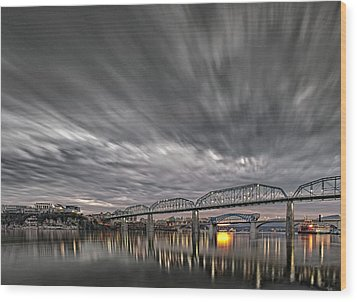 Storm Moving In Over Chattanooga Wood Print by Steven Llorca