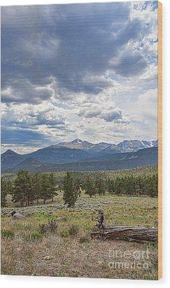 Storm Over Longs Peak Wood Print by Kay Pickens
