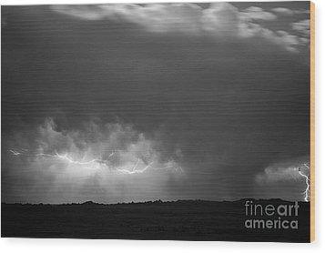 Storm Over Pine Ridge Wood Print by Chris  Brewington Photography LLC
