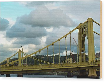 Stormy Bridge Wood Print by Frank Romeo