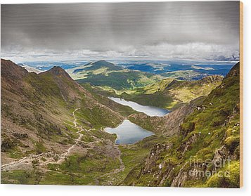 Stormy Skies Over Snowdonia Wood Print by Jane Rix