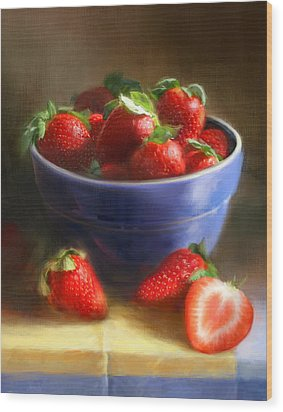 Strawberries On Yellow And Blue Wood Print by Robert Papp