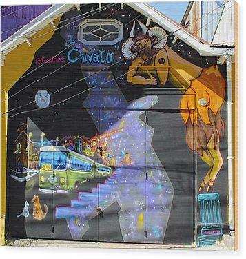 Street Art Valparaiso Chile 5 Wood Print by Kurt Van Wagner