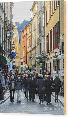 Street In Gamla Stan - The Old Part Of Stockholm - Sweden Wood Print by David Hill