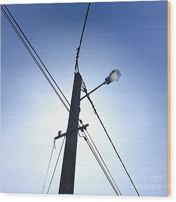 Street Lamp And Power Lines Wood Print by Bernard Jaubert