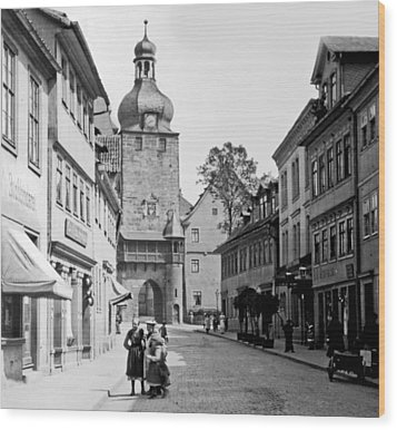Wood Print featuring the photograph Street Scene Coberg Germany 1903 by A Gurmankin