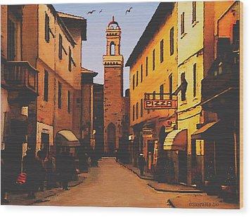 Street Scene Wood Print by SophiaArt Gallery