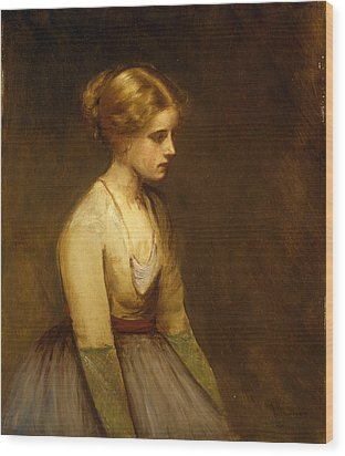 Study Of A Fair Haired Beauty  Wood Print by Jean Jacques Henner