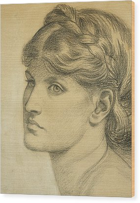 Study Of A Head For The Bower Meadow Wood Print by Dante Charles Gabriel Rossetti