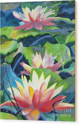 Styalized Lily Pads 3 Wood Print by Kathy Braud