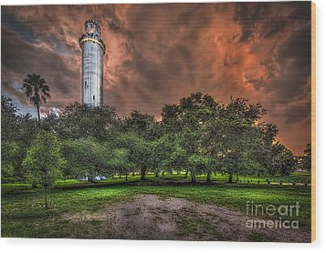 Sulfur Springs Tower Wood Print by Marvin Spates