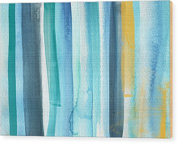 Summer Surf- Abstract Painting Wood Print by Linda Woods