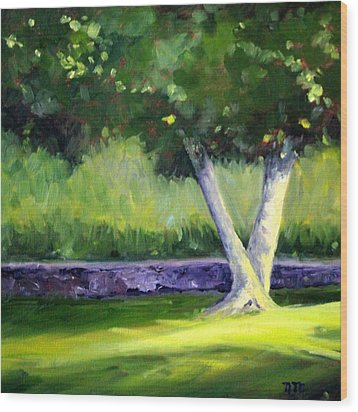 Summer Tree Wood Print by Nancy Merkle