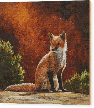 Sun Fox Wood Print by Crista Forest