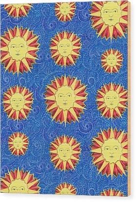 Sun King Textile Pattern Wood Print by John Keaton