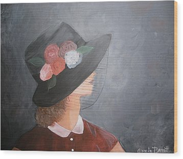 Sunday Hat Wood Print by Glenda Barrett