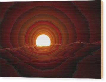 Sunfall Behind The Mountains Wood Print by Jeff Swan