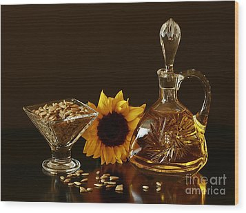Sunflower And Crystal Wood Print by Inspired Nature Photography Fine Art Photography