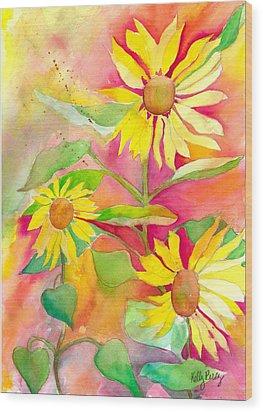 Sunflower Wood Print by Kelly Perez