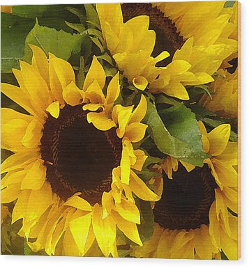 Sunflowers Wood Print by Amy Vangsgard