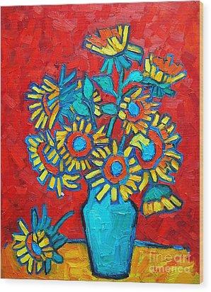 Sunflowers Bouquet Wood Print by Ana Maria Edulescu