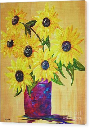Sunflowers In A Red Pot Wood Print by Eloise Schneider