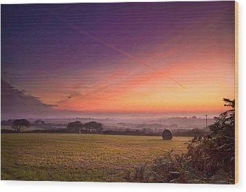Sunrise Over Cornwall Wood Print by Christine Smart