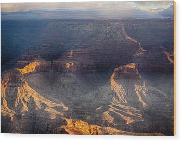 Sunrise Over The Canyon Wood Print by Lisa  Spencer