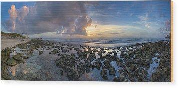 Sunrise Panorama Wood Print by Debra and Dave Vanderlaan