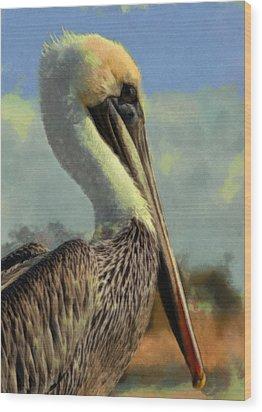 Sunrise Pelican Wood Print by Ernie Echols