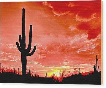 Sunrise Saguaro National Park Wood Print by Bob and Nadine Johnston
