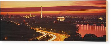 Sunset, Aerial, Washington Dc, District Wood Print by Panoramic Images