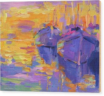 Sunset And Boats Wood Print by Svetlana Novikova