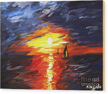 Sunset And Sails Wood Print by Michael Grubb