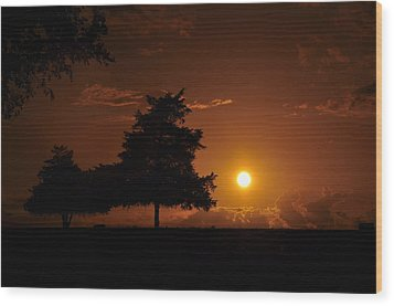 Sunset And Trees Wood Print by Cherie Haines