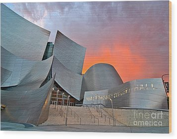 Sunset At The Walt Disney Concert Hall In Downtown Los Angeles. Wood Print by Jamie Pham