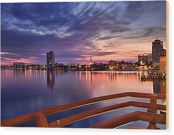 Sunset Balcony Of The West Palm Beach Skyline Wood Print by Debra and Dave Vanderlaan
