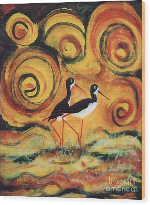 Sunset Ballet Wood Print by Anna Skaradzinska