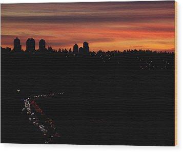 Sunset Commuters Wood Print by Lisa Knechtel