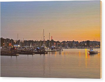 Sunset Fishing Wood Print by Frozen in Time Fine Art Photography